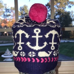 NWT Vineyard Vines Navy/Hot Pink Anchor Whale Hat